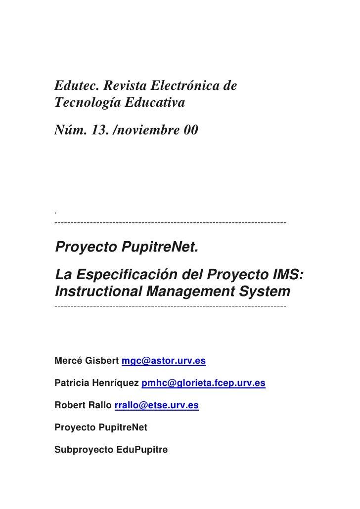Edutec. Revista Electrónica deTecnología EducativaNúm. 13. /noviembre 00.-------------------------------------------------...