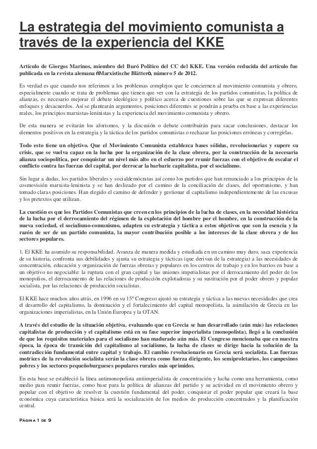 Página 1 de 9La estrategia del movimiento comunista através de la experiencia del KKEArtículo de Giorgos Marinos, miembro ...