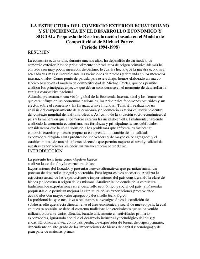 LA ESTRUCTURA DEL COMERCIO EXTERIOR ECUATORIANO Y SU INCIDENCIA EN EL DESARROLLO ECONOMICO Y SOCIAL: Propuesta de Reestruc...