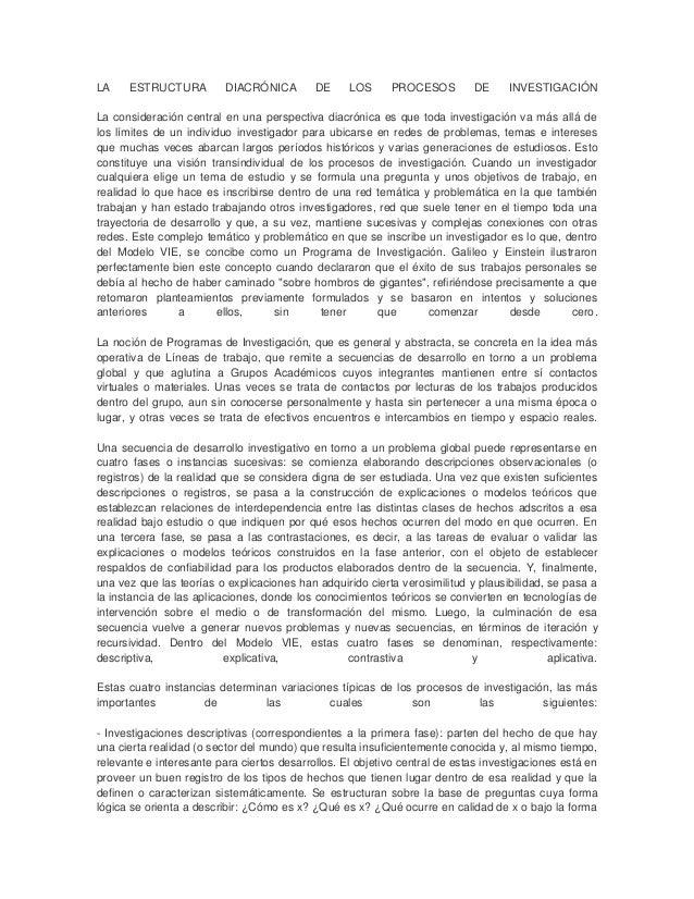 LA ESTRUCTURA DIACRÓNICA DE LOS PROCESOS DE INVESTIGACIÓN La consideración central en una perspectiva diacrónica es que to...