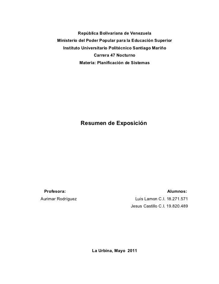 República Bolivariana de Venezuela       Ministerio del Poder Popular para la Educación Superior          Instituto Univer...