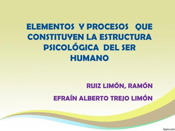 ELEMENTOS Y PROCESOS QUECONSTITUYEN LA ESTRUCTURA   PSICOLÓGICA DEL SER         HUMANO             RUIZ LIMÓN, RAMÓN     E...