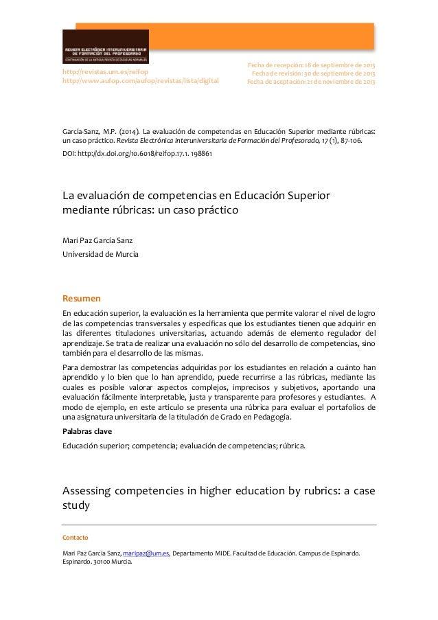 Contacto      Mari  Paz  García  Sanz,  maripaz@um.es,  Departamento  MIDE.  Facultad  de  Educaci...