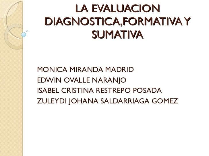 LA EVALUACION DIAGNOSTICA,FORMATIVA Y SUMATIVA MONICA MIRANDA MADRID EDWIN OVALLE NARANJO ISABEL CRISTINA RESTREPO POSADA ...