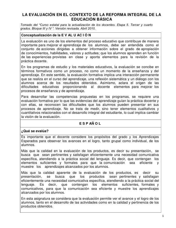 """LA EVALUACIÓN EN EL CONTEXTO DE LA REFORMA INTEGRAL DE LA                      EDUCACIÓN BÁSICATomado del """"Curso estatal p..."""