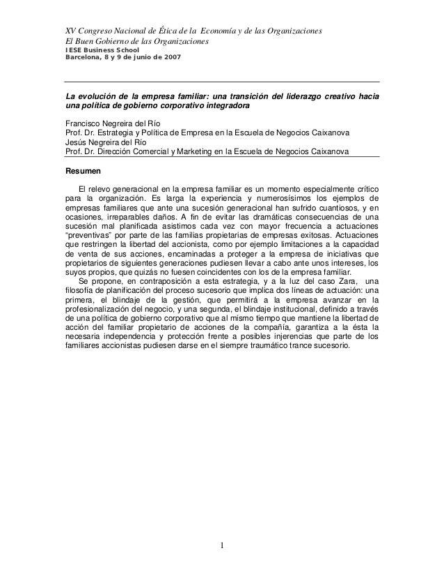 XV Congreso Nacional de Ética de la Economía y de las OrganizacionesEl Buen Gobierno de las OrganizacionesIESE Business Sc...