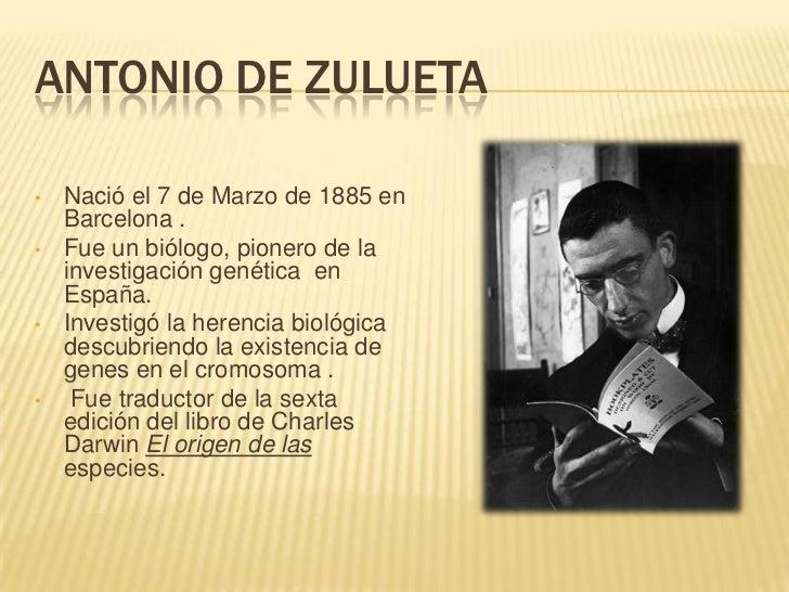 ANTONIO DE ZULUETA•   Nació el 7 de Marzo de 1885 en    Barcelona .•   Fue un biólogo, pionero de la    investigación gené...