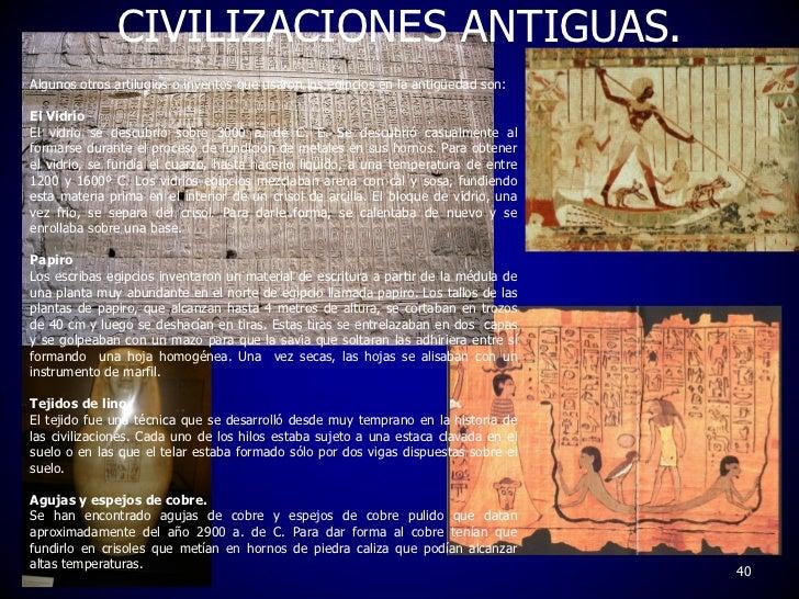 que invenciones e innovaciones se dieron en las civilizaciones antiguas