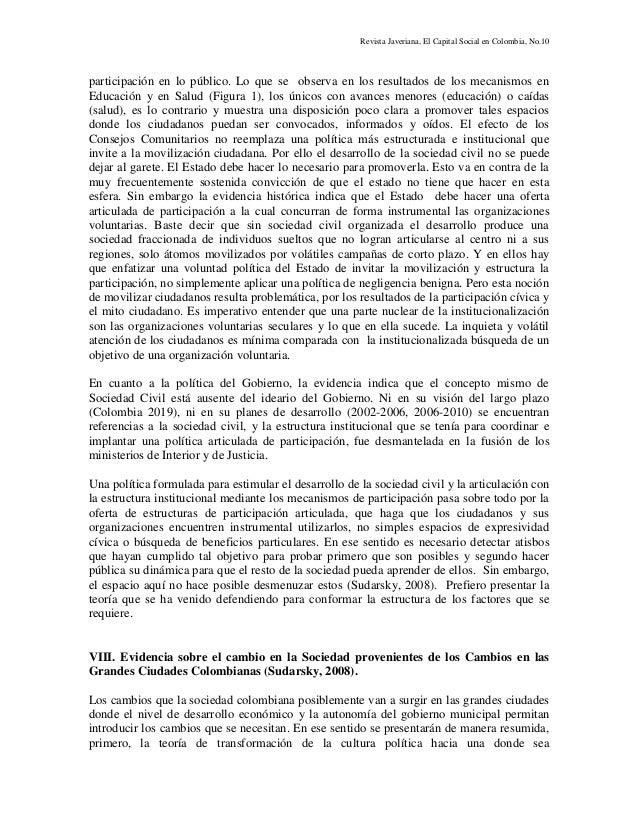 Revista Javeriana, El Capital Social en Colombia, No.10 participación en lo público. Lo que se observa en los resultados d...