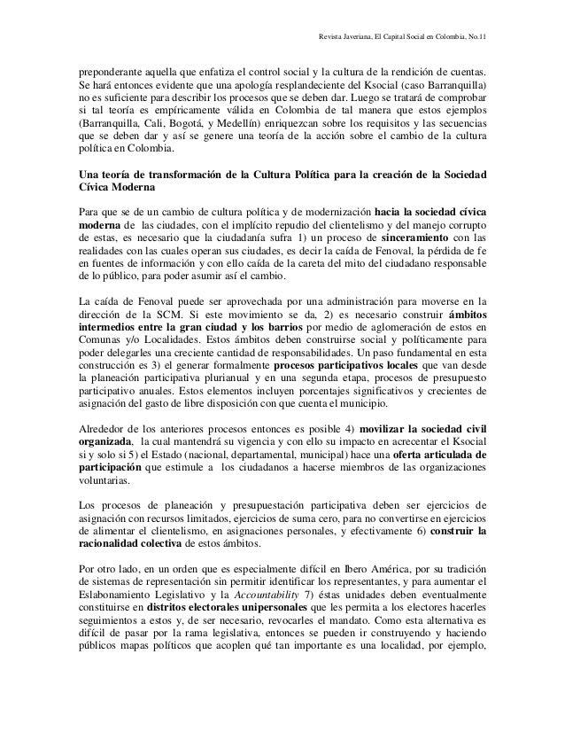 Revista Javeriana, El Capital Social en Colombia, No.11 preponderante aquella que enfatiza el control social y la cultura ...