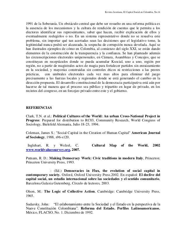 Revista Javeriana, El Capital Social en Colombia, No.14 1991 de la Soberanía. Un obstáculo central que debe ser resuelto e...