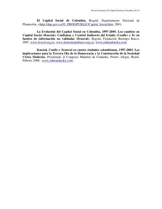 Revista Javeriana, El Capital Social en Colombia, No.15 El Capital Social de Colombia, Bogotá: Departamento Nacional de Pl...