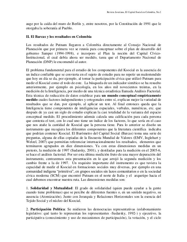 Revista Javeriana, El Capital Social en Colombia, No.2 auge por la caída del muro de Berlín y, entre nosotros, por la Cons...