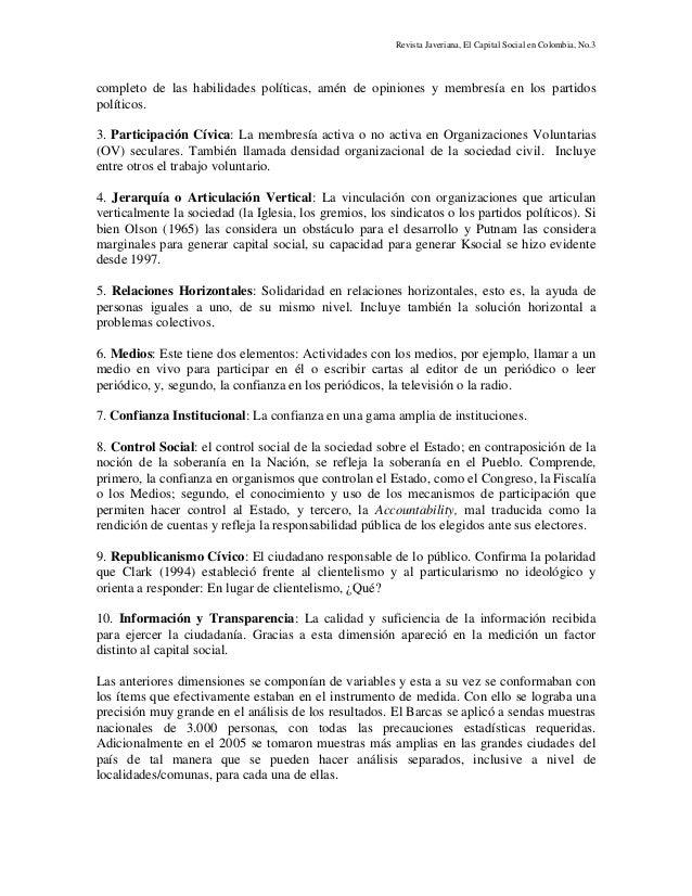 Revista Javeriana, El Capital Social en Colombia, No.3 completo de las habilidades políticas, amén de opiniones y membresí...