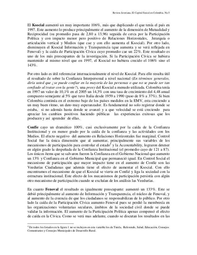 Revista Javeriana, El Capital Social en Colombia, No.5 El Ksocial aumentó un muy importante 106%, más que duplicando el qu...
