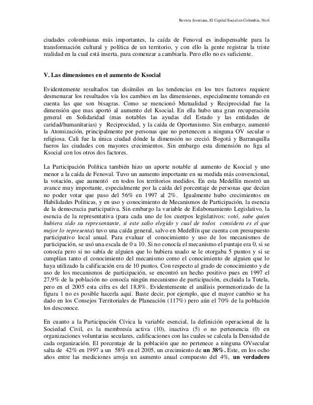 Revista Javeriana, El Capital Social en Colombia, No.6 ciudades colombianas más importantes, la caída de Fenoval es indisp...