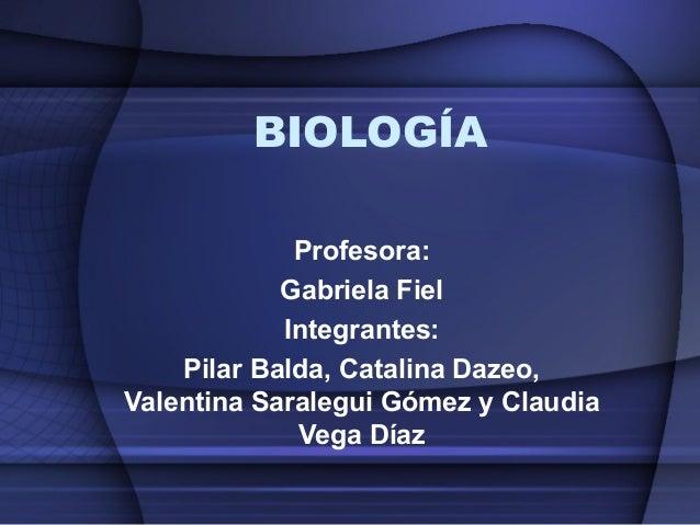 BIOLOGÍA Profesora: Gabriela Fiel Integrantes: Pilar Balda, Catalina Dazeo, Valentina Saralegui Gómez y Claudia Vega Díaz