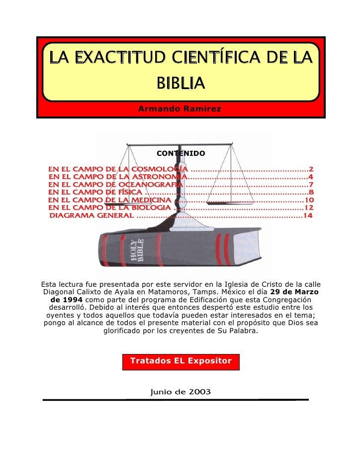 LA EXACTITUD CIENTÍFICA DE LA                                        BIBLIA                                 Armando Ramíre...