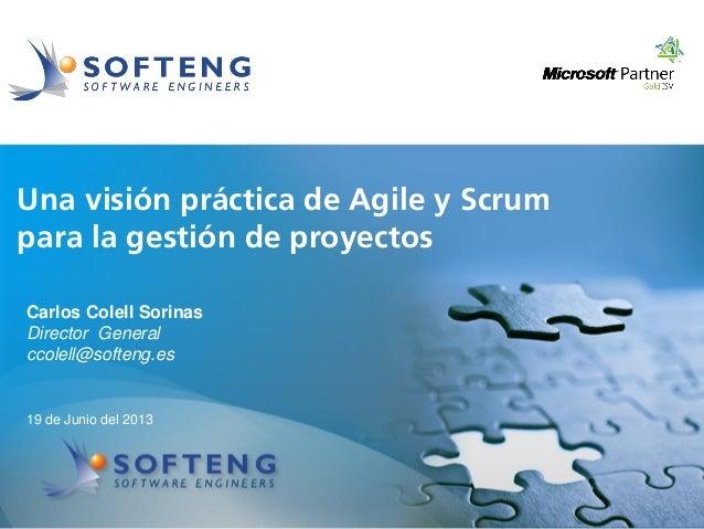 proyecto:Una visión práctica de Agile y Scrumpara la gestión de proyectos19 de Junio del 2013Carlos Colell SorinasDirector...
