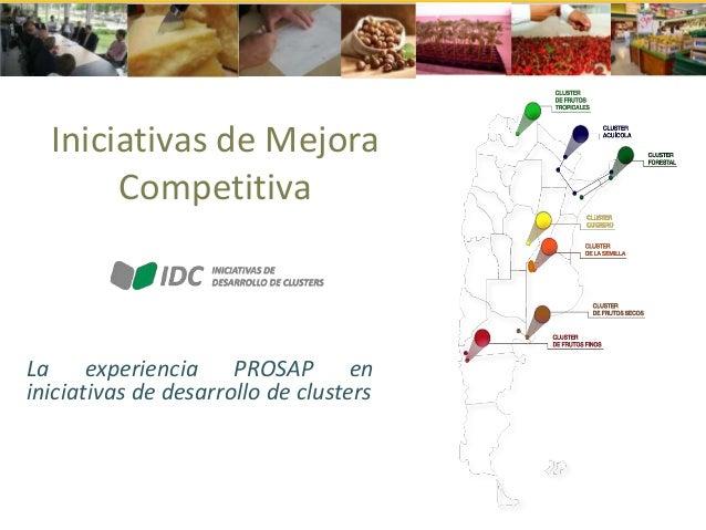 Iniciativas de Mejora Competitiva  La experiencia PROSAP en iniciativas de desarrollo de clusters