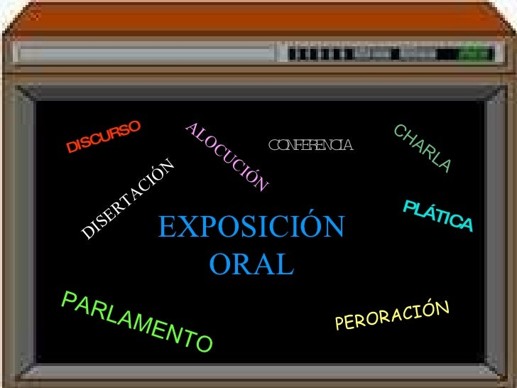 EXPOSICIÓN ORAL DISCURSO CONFERENCIA PERORACIÓN PARLAMENTO DISERTACIÓN PLÁTICA CHARLA ALOCUCIÓN