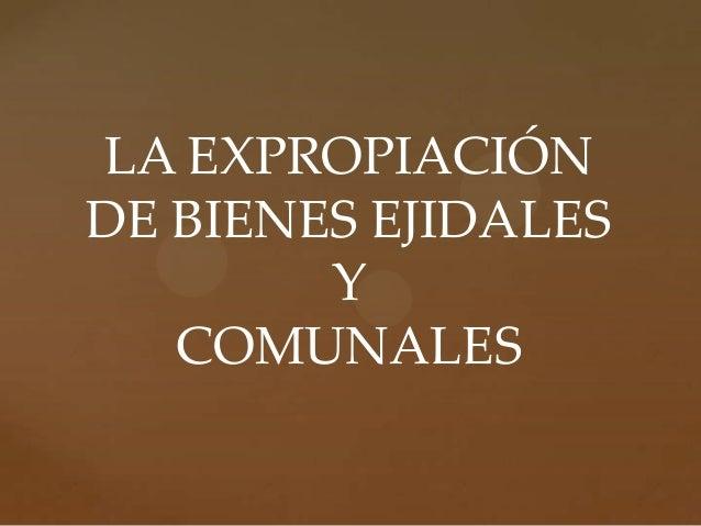 LA EXPROPIACIÓN DE BIENES EJIDALES Y COMUNALES