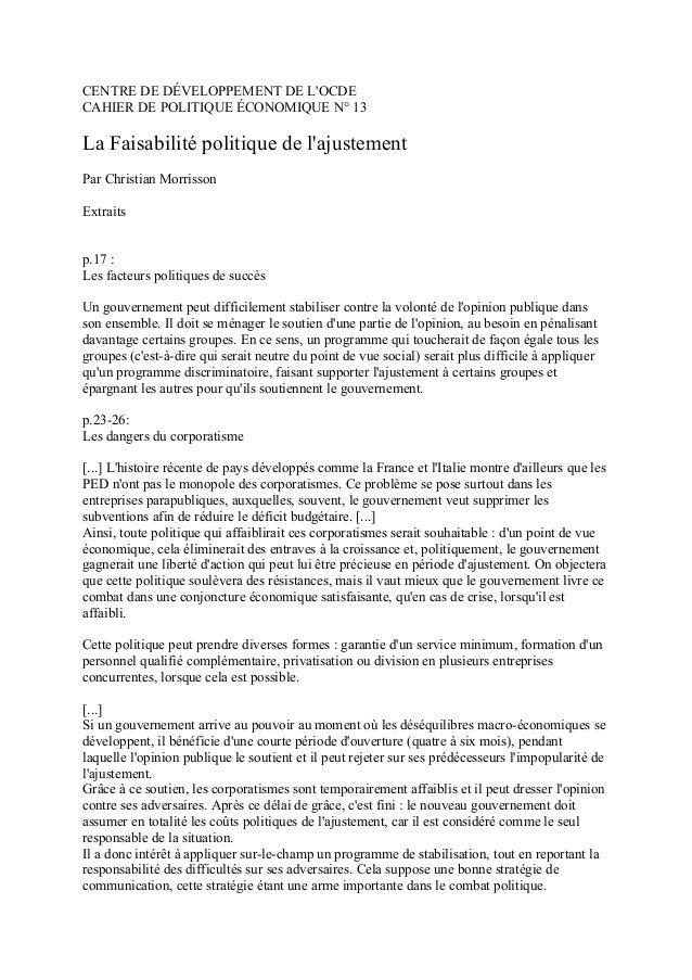 CENTRE DE DÉVELOPPEMENT DE L'OCDE CAHIER DE POLITIQUE ÉCONOMIQUE N° 13 La Faisabilité politique de l'ajustement Par Christ...