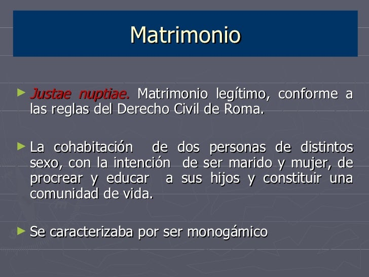 Matrimonio Romano Y Venezolano : La familia en el derecho romano