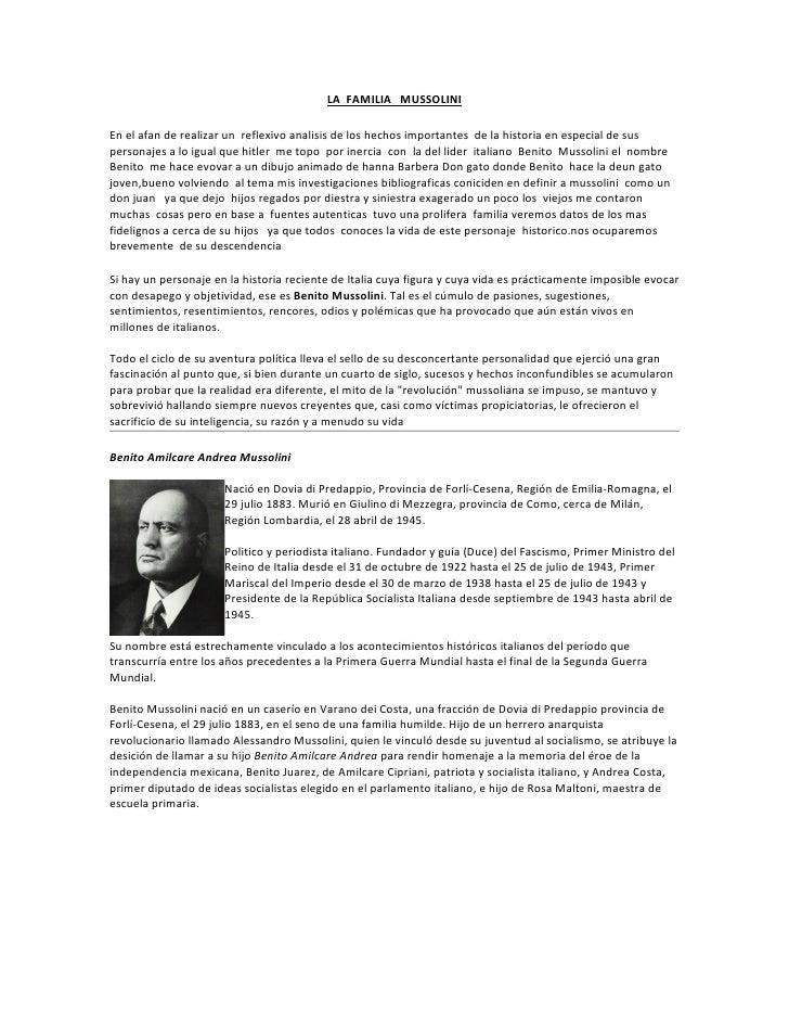 LA FAMILIA MUSSOLINI  En el afan de realizar un reflexivo analisis de los hechos importantes de la historia en especial de...