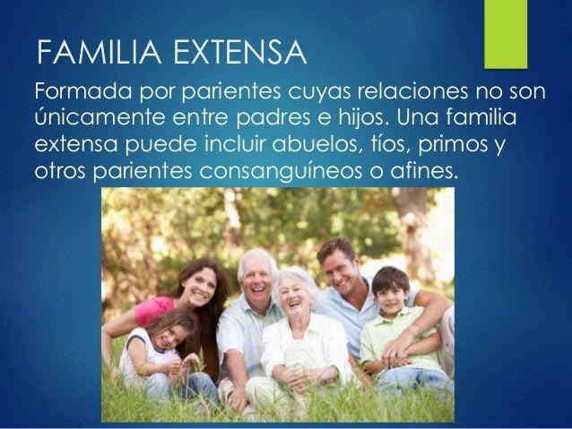 FAMILIA EXTENSA Formada por parientes cuyas relaciones no son únicamente entre padres e hijos. Una familia extensa puede i...