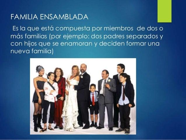 FAMILIA ENSAMBLADA Es la que está compuesta por miembros de dos o más familias (por ejemplo: dos padres separados y con hi...