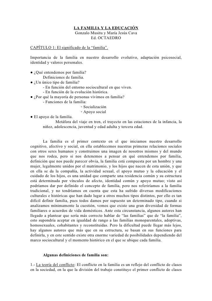 LA FAMILIA Y LA EDUCACIÓN                          Gonzalo Musitu y María Jesús Cava                                  Ed. ...