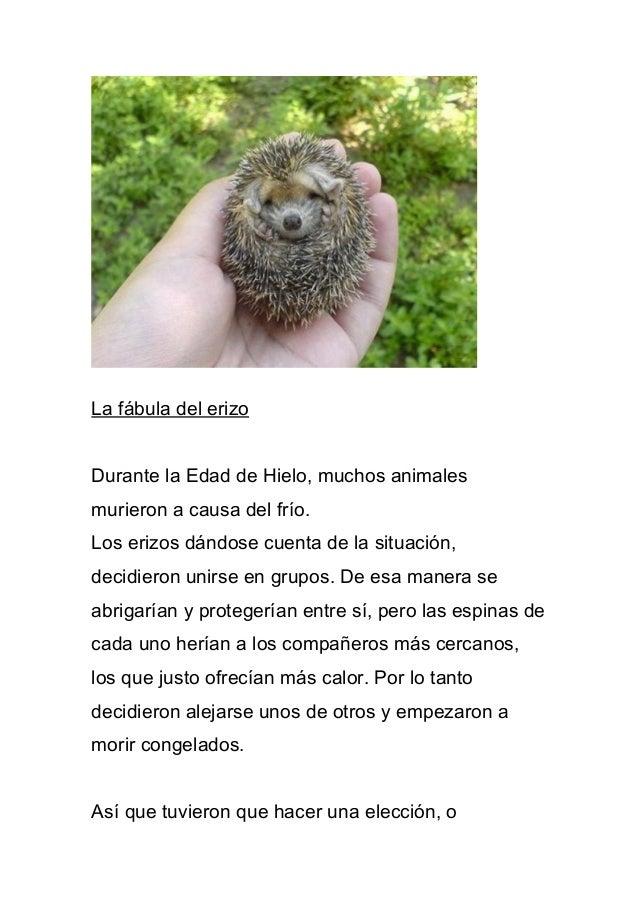 La fábula del erizo Durante la Edad de Hielo, muchos animales murieron a causa del frío. Los erizos dándose cuenta de la s...