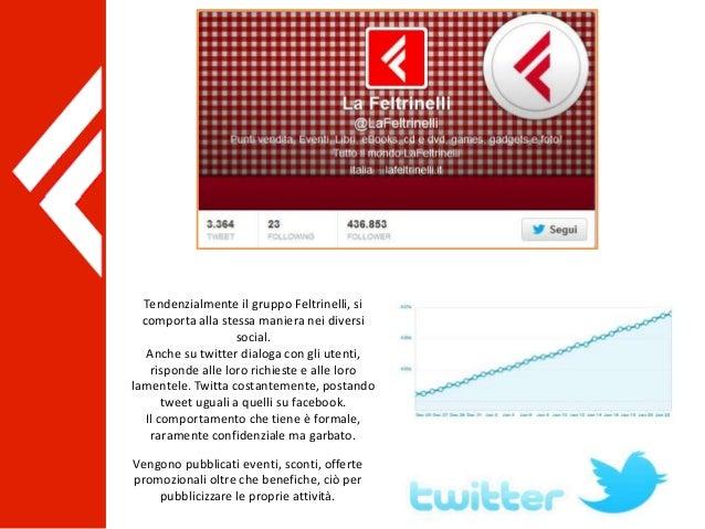 Tendenzialmente il gruppo Feltrinelli, si comporta alla stessa maniera nei diversi social. Anche su twitter dialoga con gl...