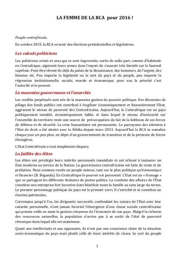 LA FEMME DE LA RCA pour 2016 ! Peuple centrafricain, En octobre 2015, la RCA va tenir des élections présidentielles et lég...