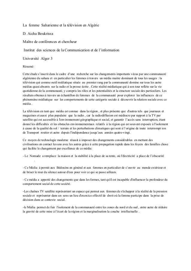 La femme Saharienne et la télévision en Algérie D. Aicha Boukrissa Maître de conférences et chercheur Institut des science...