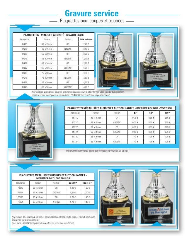 Gravure service Plaquettes pour coupes et trophées plaquettes - vendues à l'unité - gravure laser Référence Format Finitio...