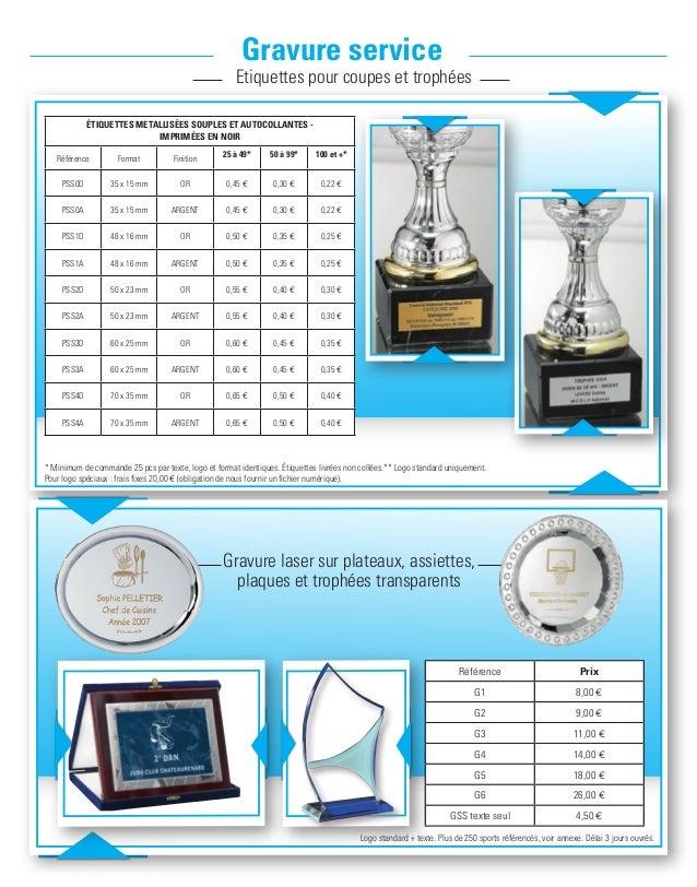 Gravure service Etiquettes pour coupes et trophées Gravure laser sur plateaux, assiettes, plaques et trophées transparents...