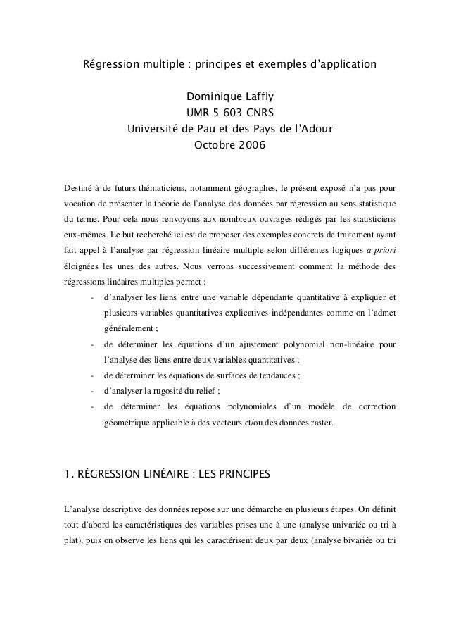 Régression multiple : principes et exemples d'application Dominique Laffly UMR 5 603 CNRS Université de Pau et des Pays de...