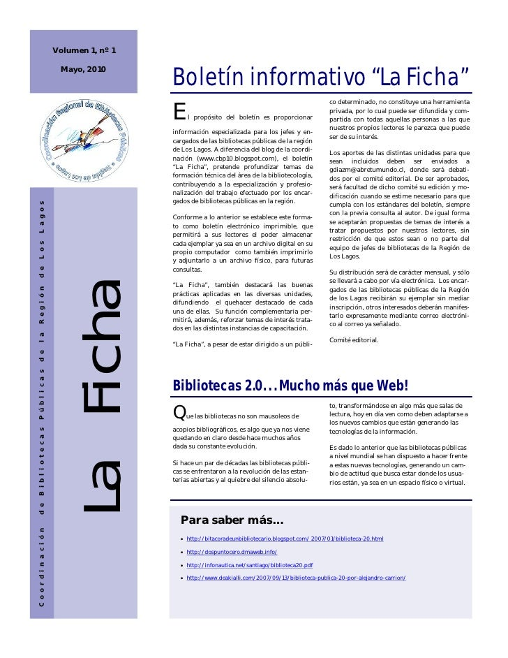"Volumen 1, nº 1                                                Boletín informativo ""La Ficha""                            M..."