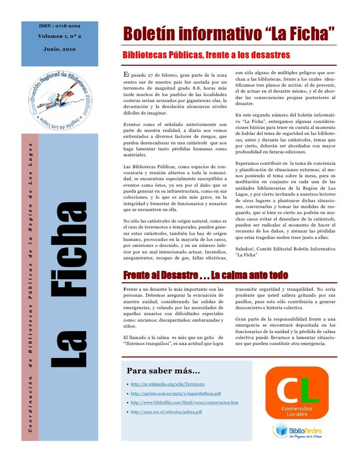 "Boletín informativo ""La Ficha""                           ISSN : 0718-9109                            Volumen 1, nº 2      ..."