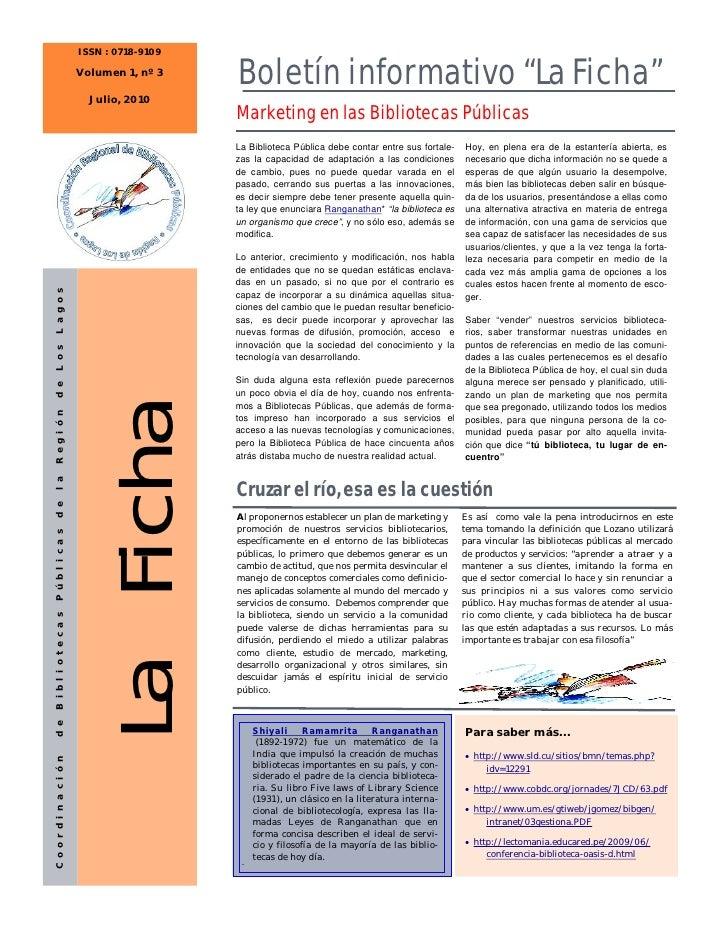 ISSN : 0718-9109                            Volumen 1, nº 3                                              Boletín informati...