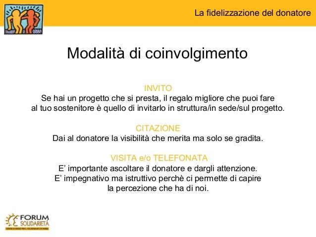 La fidelizzazione del donatore - Un importante organizzazione con sede al cairo ...