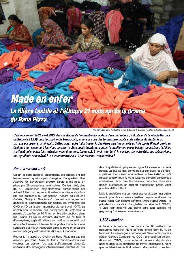 1 Travailleuses dans l'industrie textile à Dhaka © Banque Asiatique de Développement Un an et demi après la catastrophe, l...