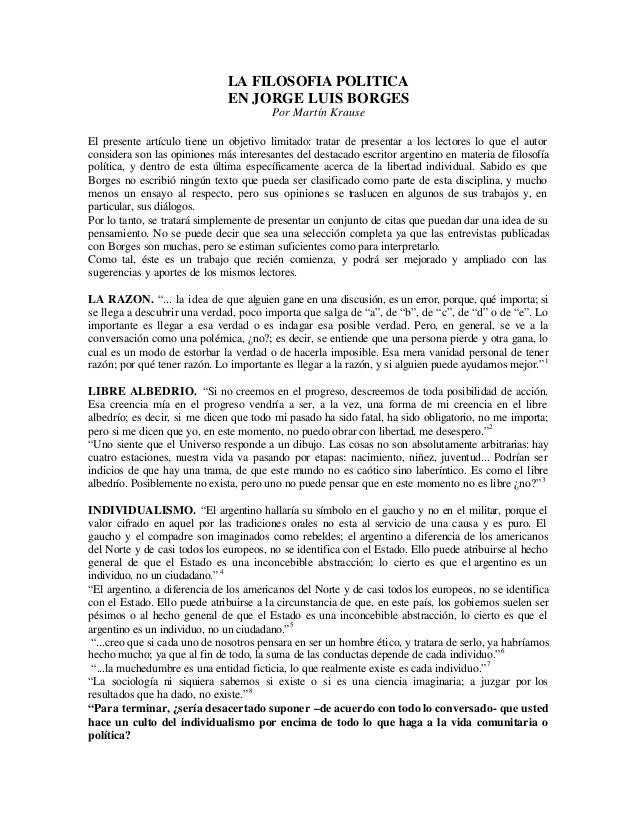 LA FILOSOFIA POLITICA                              EN JORGE LUIS BORGES                                        Por Martín ...