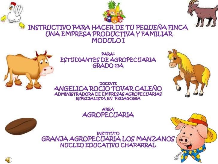INSTRUCTIVO PARA HACER DE TU PEQUEÑA FINCA     UNA EMPRESA PRODUCTIVA Y FAMILIAR                 MODULO I                 ...