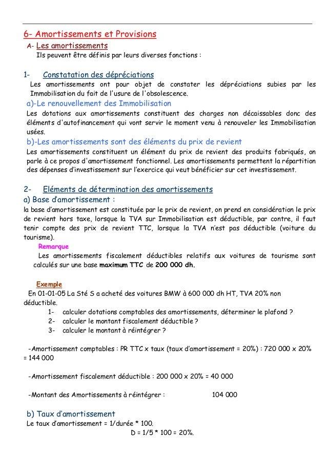 6- Amortissements et Provisions A- Les amortissements Ils peuvent être définis par leurs diverses fonctions : 1- Constatat...