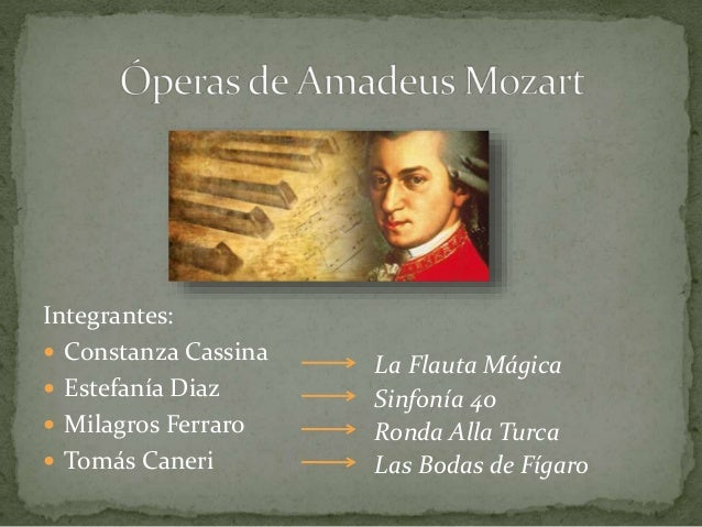 Integrantes:   Constanza Cassina   Estefanía Diaz   Milagros Ferraro   Tomás Caneri  La Flauta Mágica  Sinfonía 40  Ro...