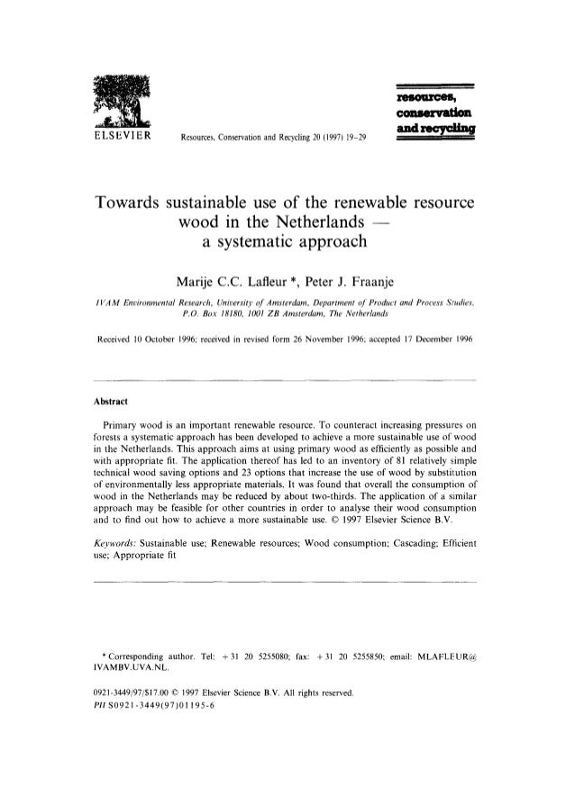 ELSEVIER               Resources, Conservationand Recycling20 (1997) 19-29Towards sustainable use of the renewable resourc...