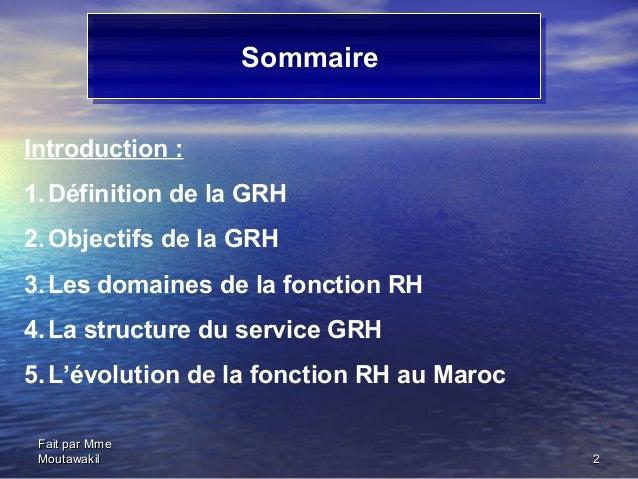 La fonction grh Slide 2